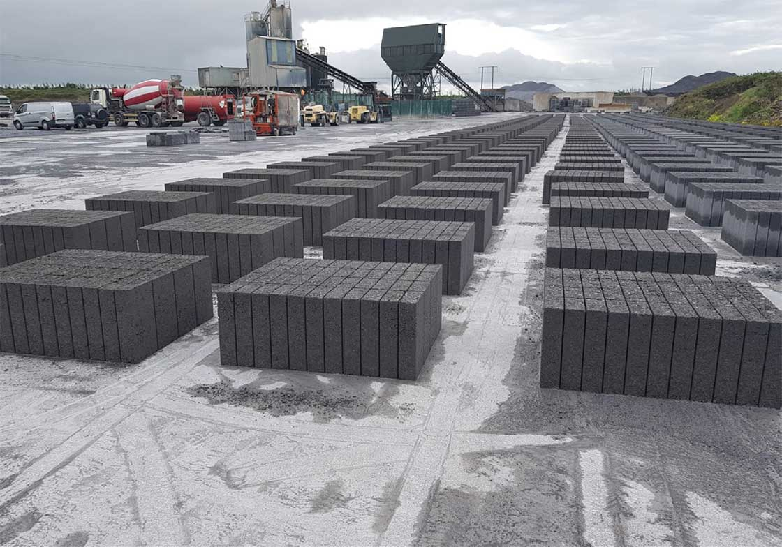 Galway-based concrete product supplier Coshla Quarries manufacture blockwork as standard featuring 50% GGBS from Ecocem.