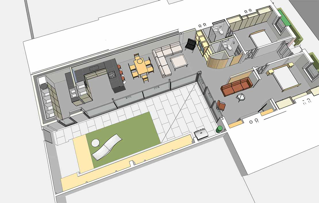 above 3D floor plan of the finished dwelling, with bedrooms in the original part of the dwelling (at right) and kitchen and dining areas in the new extension (at left); below graphic sequence showing demolition of the old extension and construction of the new one.
