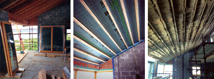 The lean to roof includes 225 timber joists, which were pumped with cellulose insulation; an Ampac Ampatop Protecta membrane & tapes; and a 100mm service cavity with Sheep Wool Insulation inside the airtight layer