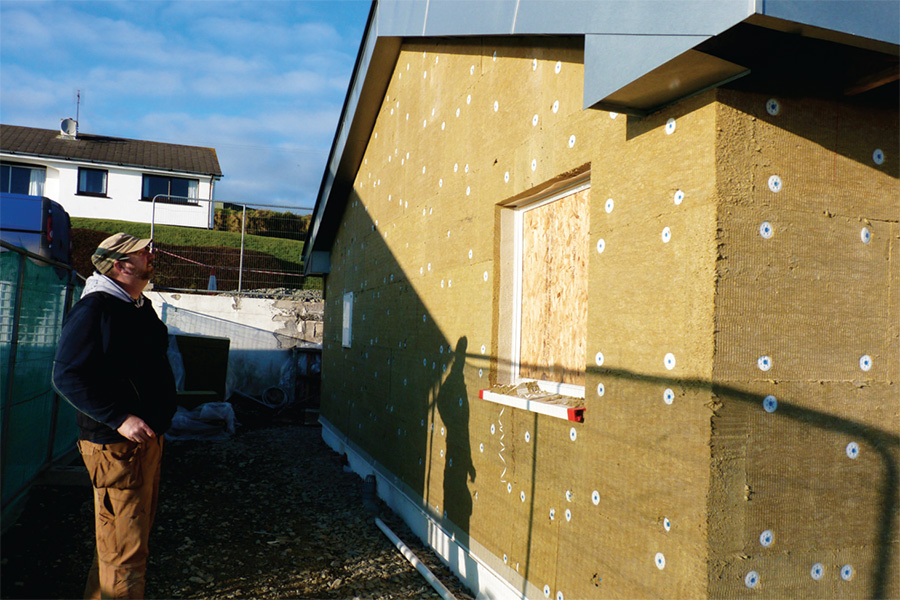 The walls are externally insulated with 150mm of Rockwool.