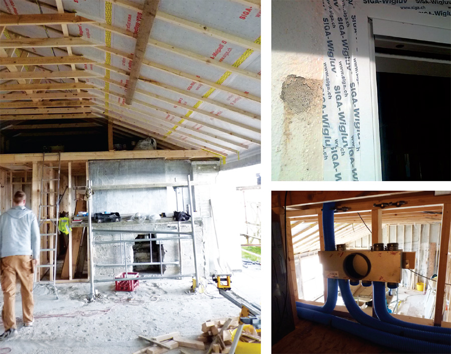 Siga's airtightness products were used to help deliver an airtightness of 0.8 ACH, including Majpal membranes with Sicrall and Wigluv tapes; (bottom right) an Aldes Cube MVHR system provides ventilation while recapturing heat from stale air.