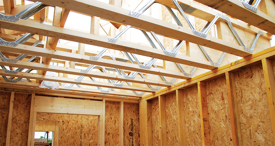 The steel web floor joists house building services such as MVHR ductwork discretely