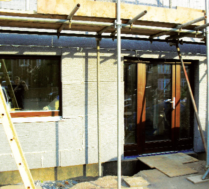 Two layers of insulation installed across frontage