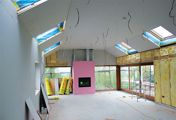 The new extension comes together, with airtight layer