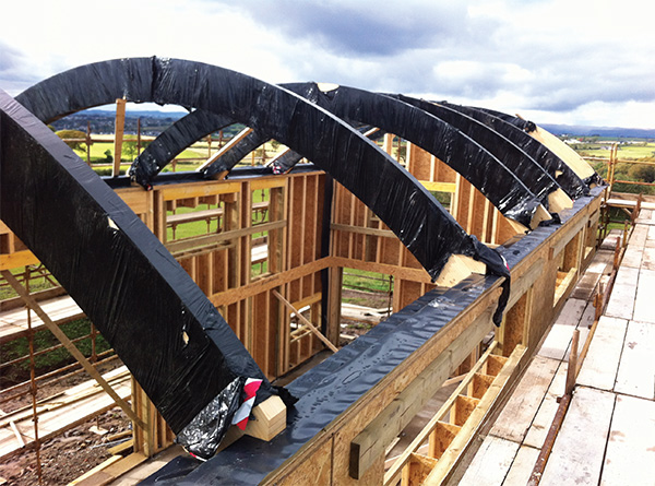 The roof's curved glulam beams