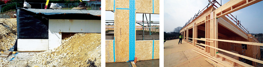 The foundation sits on 250mm of high density Jablite Jabfloor rigid EPS insulation consisting of two staggered layers; the airtight layer consists of Smartply OSB3 with careful taping at junctions and between panels; wrapped glulam ends visible through structural zone