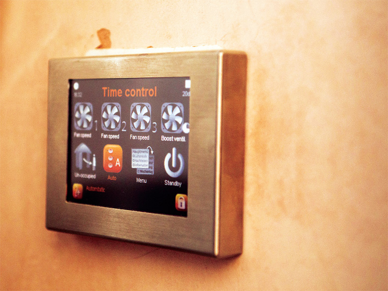 This touchscreen panel provides an easy way to control the heat recovery ventilation system
