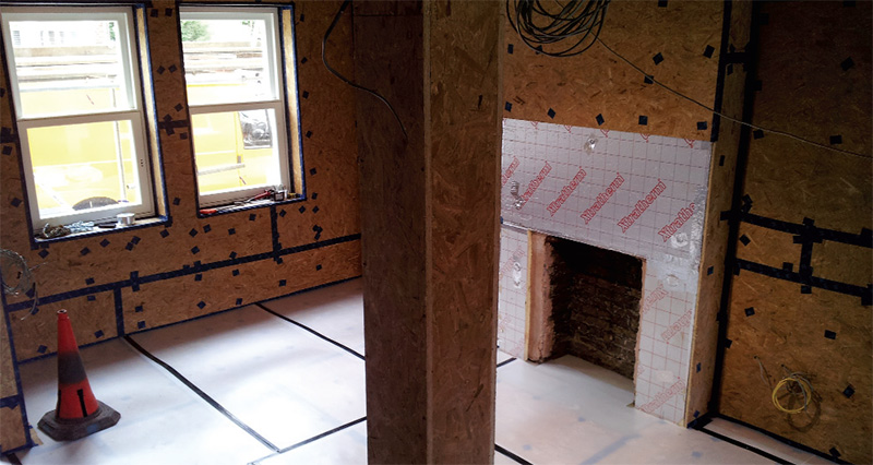 100mm Xtratherm phenolic insulation beneath a 15mm OSB plus Pro Clima tapes airtight layer