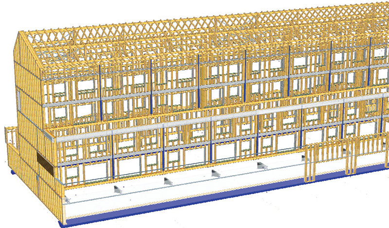 An illustration of the building's retrofitted external timber frame