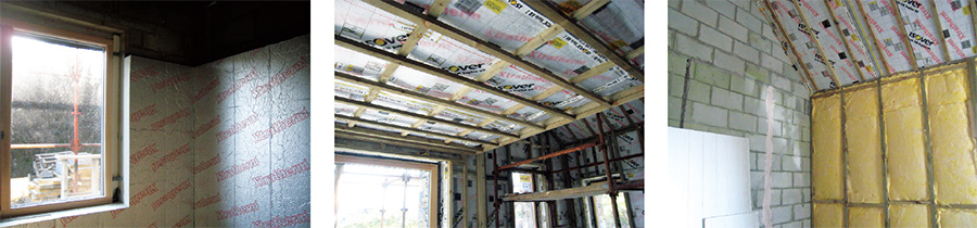 In addition to an insulated cavity, the wall build-up includes 100mm Xtratherm PIR insulation; beneath the Isover Vario airtightness system, a 75mm service void; filled with Isover Metac mineral batt insulation.