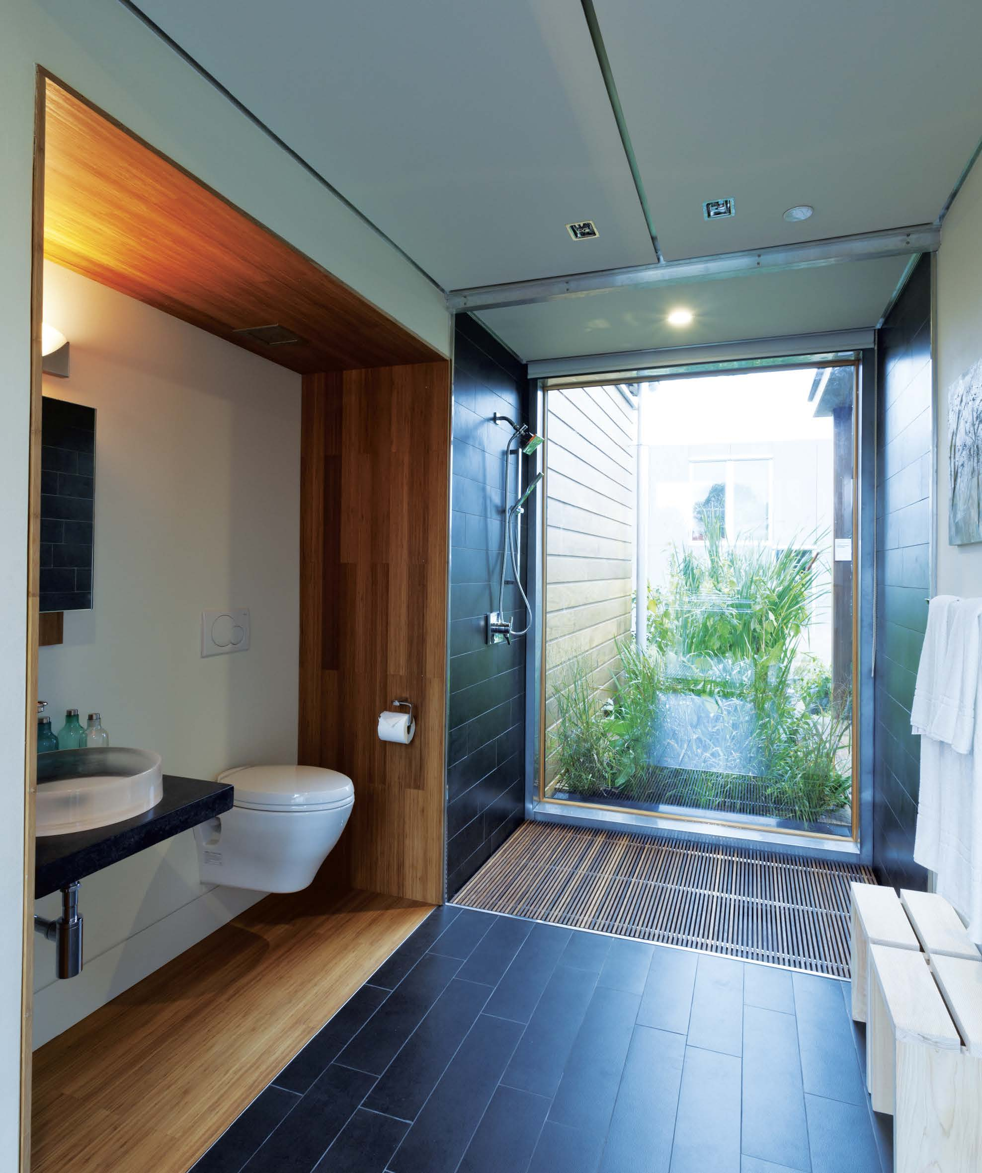 The bathroom is the focal point of the design and water conservation and reuse is a central theme to the project.
