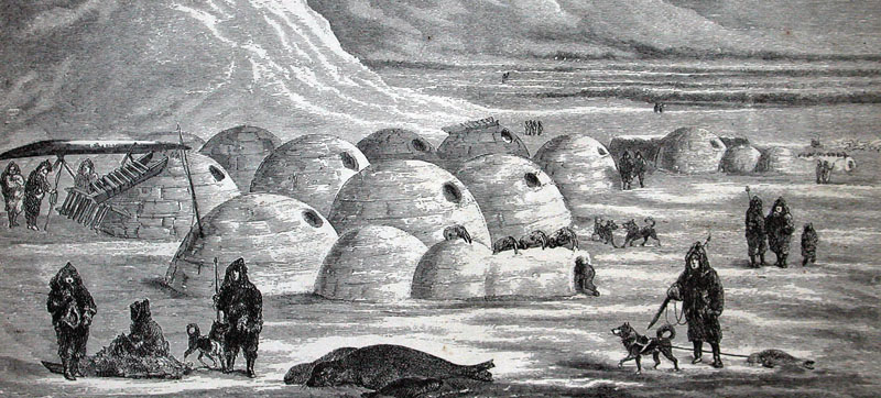 International - A community of igloos Illustration from Charles Francis Halls Arctic Researches and Life Among the Esquimaux 1865