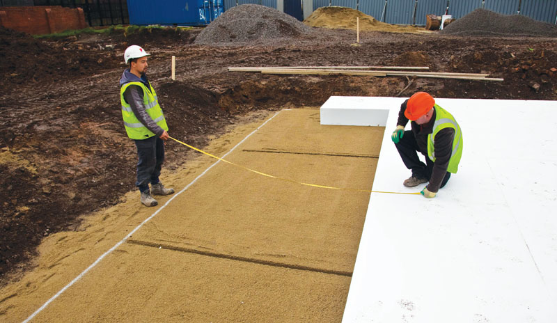 The raft foundation is insulated with 250mm EPS
