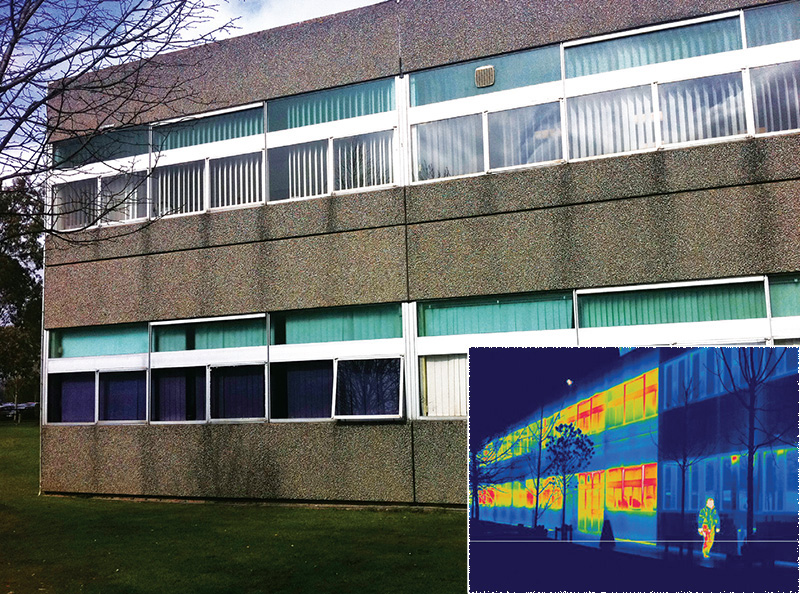 Dating from 1974, the original walls and windows have risible U-values of 1.77 and circa 5 W/m2K respectively. The pilot project has reduced the wall U-values of the upgraded section to just 0.11, with windows improved to 1 W/m2K. A thermal image makes the profound efficiency improvement tangible.