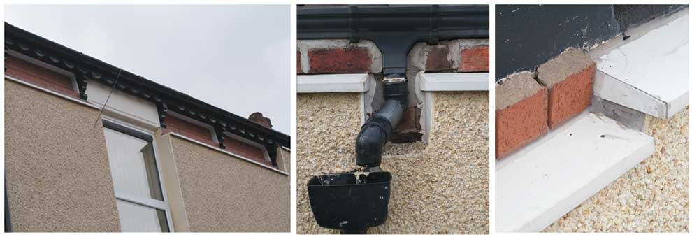 (above) Poor workmanship at the Preston scheme including (l-r) poor detailing at the roof line, discontinuous drainage installations; and uneven installation of the insulation system.
