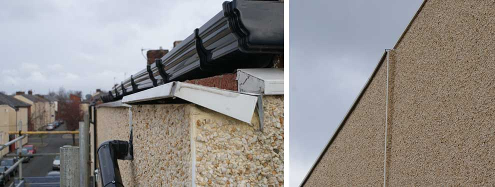 Poorly installed external insulation with capping (right photo) that will almost certainly drain rainwater back into the wall behind.