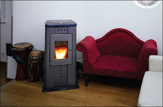 A wood pellet stove provides space and water heating for the entire dwelling