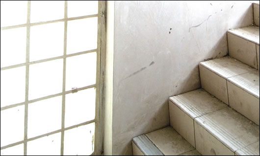 1 hour fire rated glass blocks bring natural light into the stairwells, thus reducing the need for electrical lighting