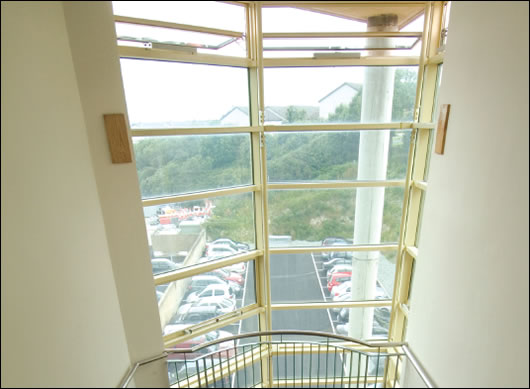 Internal view of stairwell. Note, the windows are open