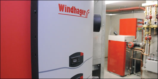 Located in the basement, the building's space and water heating system is a 25.9 kW Windhager Biowin Exclusiv supplied by Heatright, based in Skibbereen, County Cork