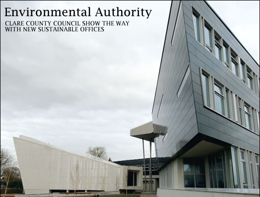As long term readers of Construct Ireland will recall, the mainstreaming in recent years of sustainable design and construction has been exemplified in many innovative local authority offices. John Hearne visited Aras Contae an Chláir, and discovered a building which attempts to holistically minimise environmental impact, with attention paid to more than just energy performance and carbon emissions.