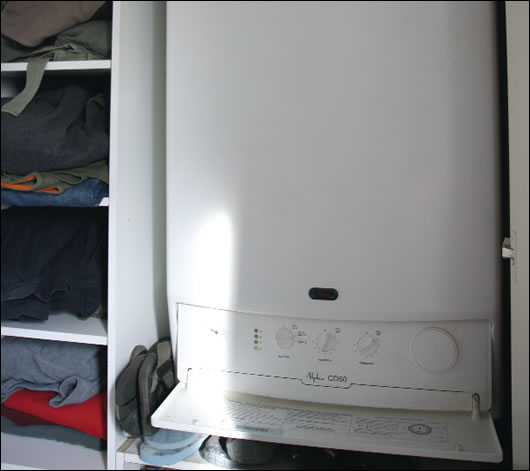 The couple decided to install an Alphatherm condensing combi boiler, with a Zenex GasSaver on top, which increases the efficiency of the boiler