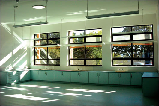 The classrooms are naturally ventilated with the use of openable top and bottom windows which create a stack effect
