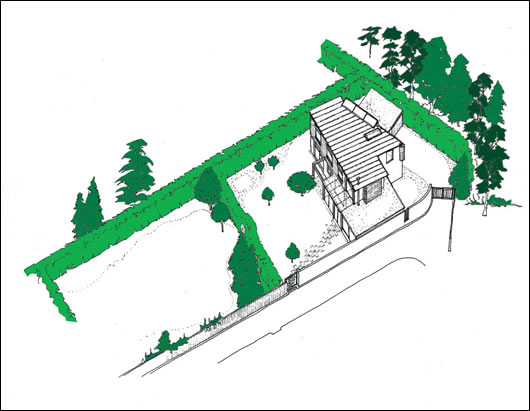 a sketch of the house and garden, where many of the existing hedgerows and trees were maintained