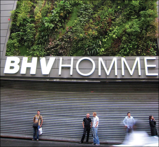 Some examples of renowned French botanist Patrick Blanc's living walls abroad include (top) the Musée du quai Branly in Paris; (above) le Mur Vegetal at Melbourne Central, Australia; and (below) the BHV Homme fashion store, also in Paris