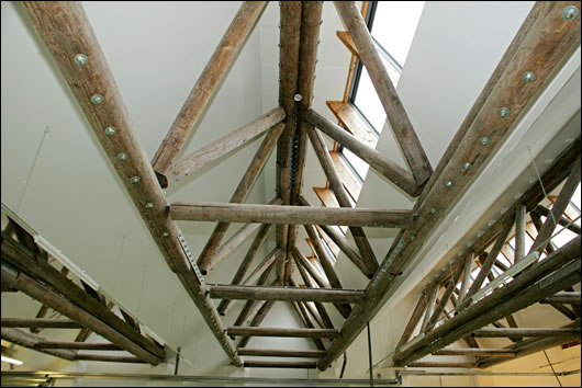 The timber trusses that span the width of the ceiling in the factory floor and storage area are made from FSC-certified Latvian timber
