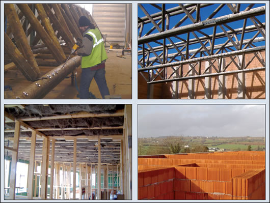 (clockwise, l-r) 200mm of Sheep Wool Insulation was installed in the roof of the factory floor, with 100mm in the roof of the storage area; Vreenegoor's own team of labourers assembled the timber trusses in a purpose-built facility behind the factory; the T12 poroton block walls, concrete pillars and timber trusses during the building's construction; 365mm T12 Poroton blocks comprise the bulk of the building's structure