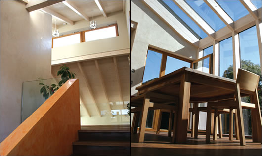 (left) glass balustrades help to make the most of light entering the house through clerestory windows; (right) the extensively glazed dining area adjacent to the kitchen