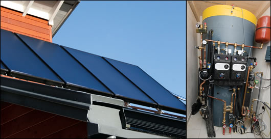 The ten roof-mounted solar panels have been sited just above the main south-facing glazed sections and feed into a 1,500L buffer tank in the boiler room (below right), which acts as the centralised heat store for the house