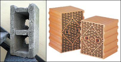In spite of their poor performance nine inch hollow blocks have been widely used in Irish construction over the past 50 years, not to be confused with high performance poroton blocks (right), such as those supplied by FBT
