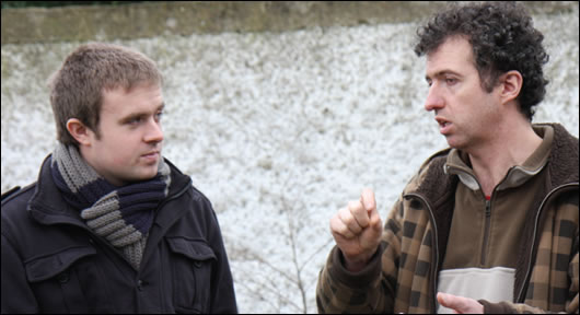 Construct Ireland journalist Lenny Antonelli (left) speaks to Viking House's Seamus O'Loughlin (right) on site in Glasnevin