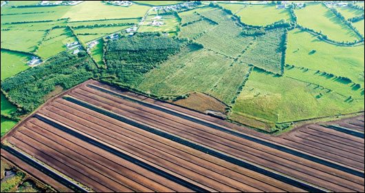 An aerial view of a bog harvested by Bord na Móna in the Bog of Allen, County Kildare