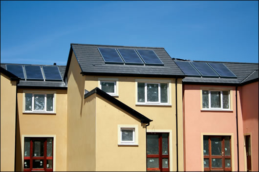 Nutech Renewables' solar collectors on the roofs of Leahy Brothers housing development at Killeagh, County Cork