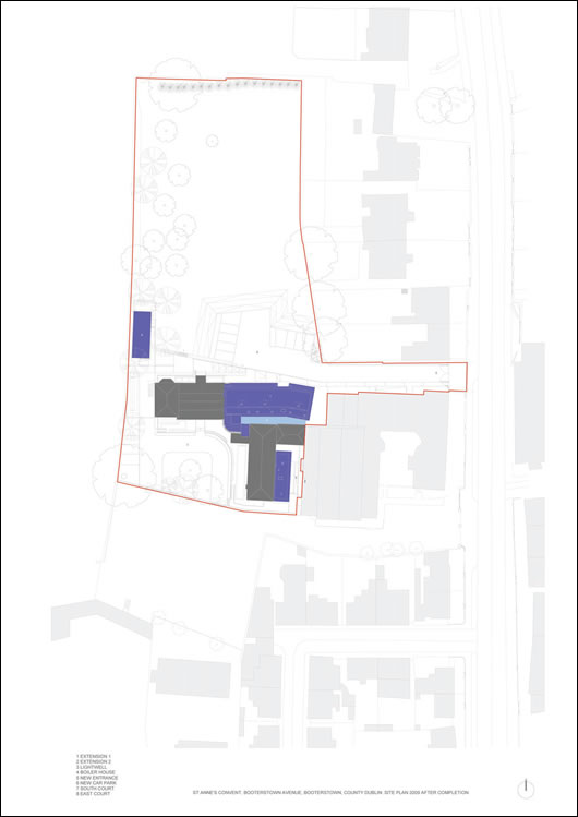 An architect's drawing of the site, showing new (blue) and historic (grey) buildings