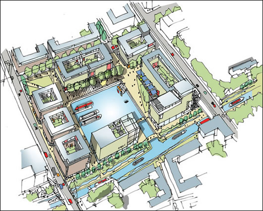 A bird's eye view illustration of the canal basin at Clonburris, a proposed development which is infused with world-class sustainability credentials