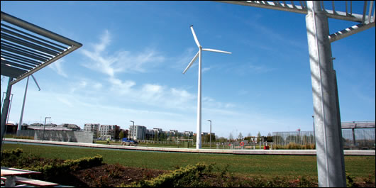 Lining the promenade are five 50kW wind turbines which provide electricity on site