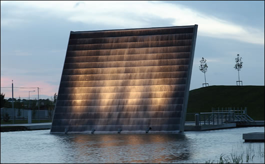 An impressive water feature is situated at one end of the lake