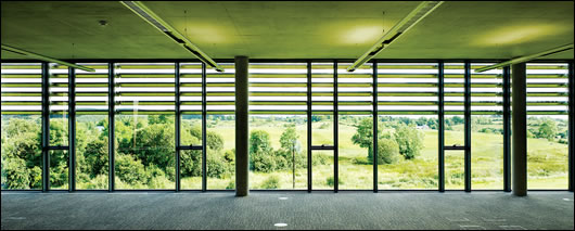An iroko brise soleil helps to prevent glare and overheating