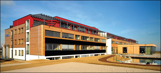 The new headquarters of renewable energy specialists Juwi in Wörrstadt, Germany, constructed by timber frame experts GriffernerHaus