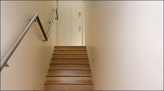 The stairs and hallways are unheated and thus regarded as a