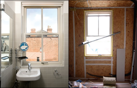 for conservation reasons, sash windows were used to recreate the period look