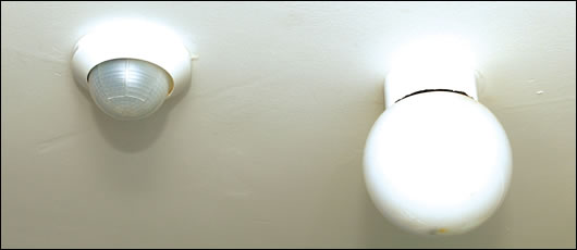 motion and daylight sensors were installed beside light fixtures throughout the house