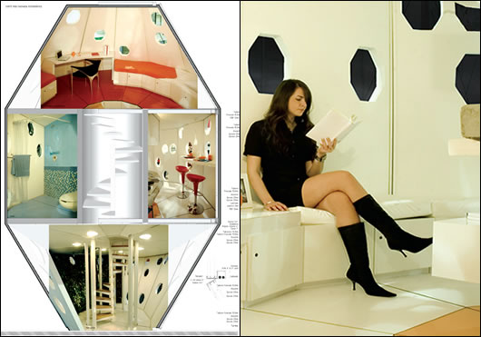 The pod has three floors and includes a hydroponic garden, kitchen, bathroom and bedroom; it was designed to comfortably accommodate two to three people