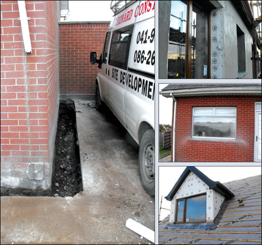 (clockwise from left) Mount Carrick dug an 80cm trench around the house to bring the external insulation down to the house's footings; the external insulation was brought right up to the window frames; this was enabled by cutting back jambs and sills; external insulation was fitted around the new dormer windows