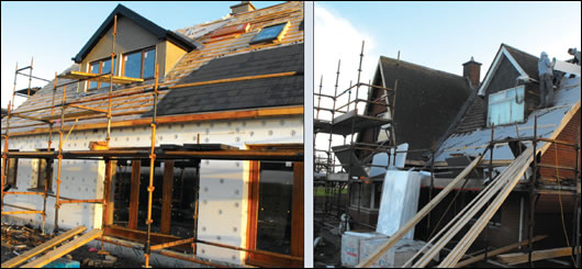 The external insulation being applied and Aerobord Platinum insulation being fitted to the new roof