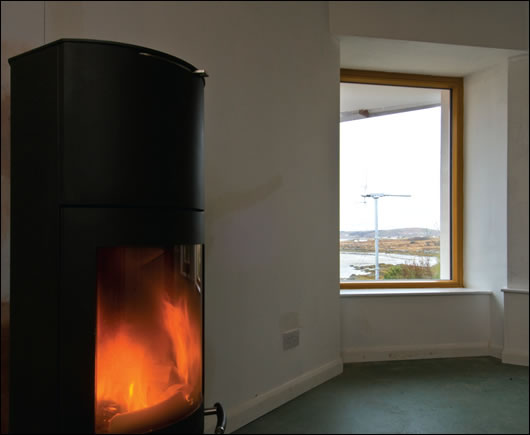 A wood burning stove is the primary heat source
